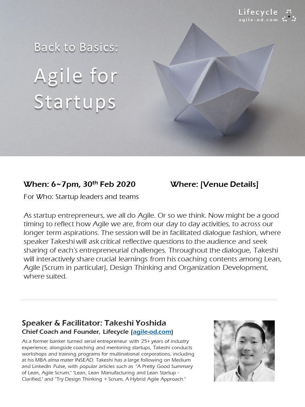 Agile for Startups - Takeshi Yoshida Lifecycle agile-od.com