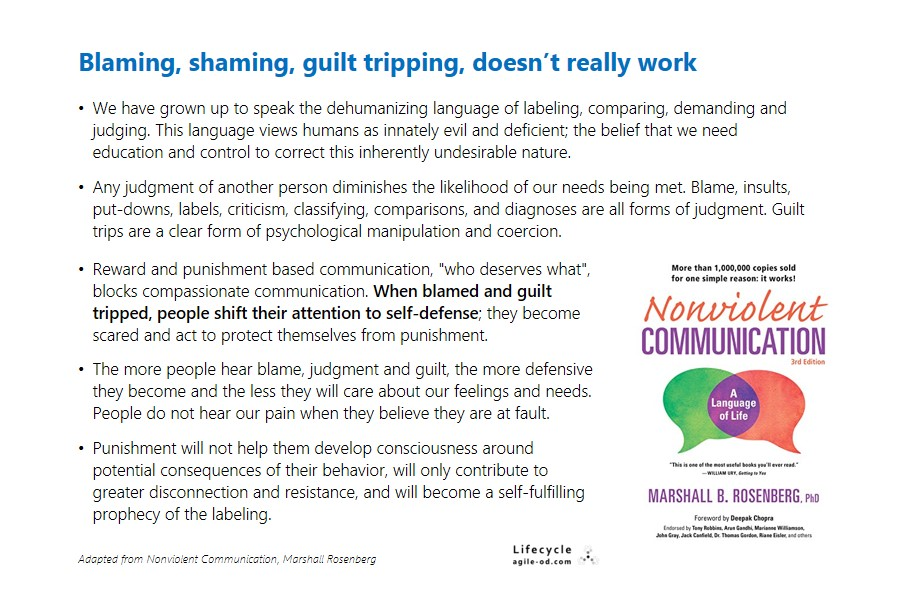 Nonviolent Communication - Blaming, Shaming, Guilt-tripping Doesn't work