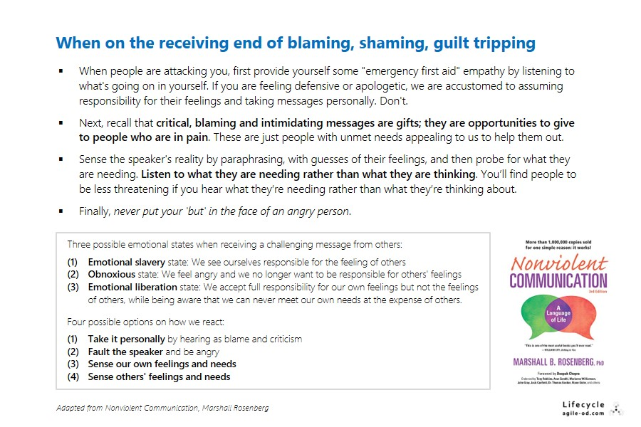 When on the receiving end of blaming, shaming, guilt tripping