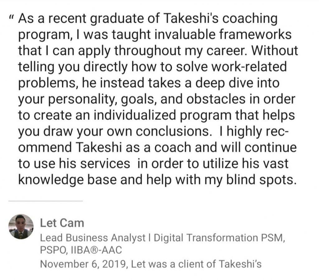 Coach Takeshi Testimonial
