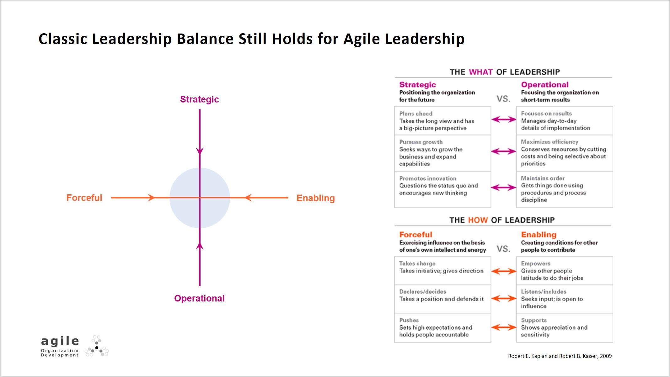 Classic leadership balance still holds for agile leadership