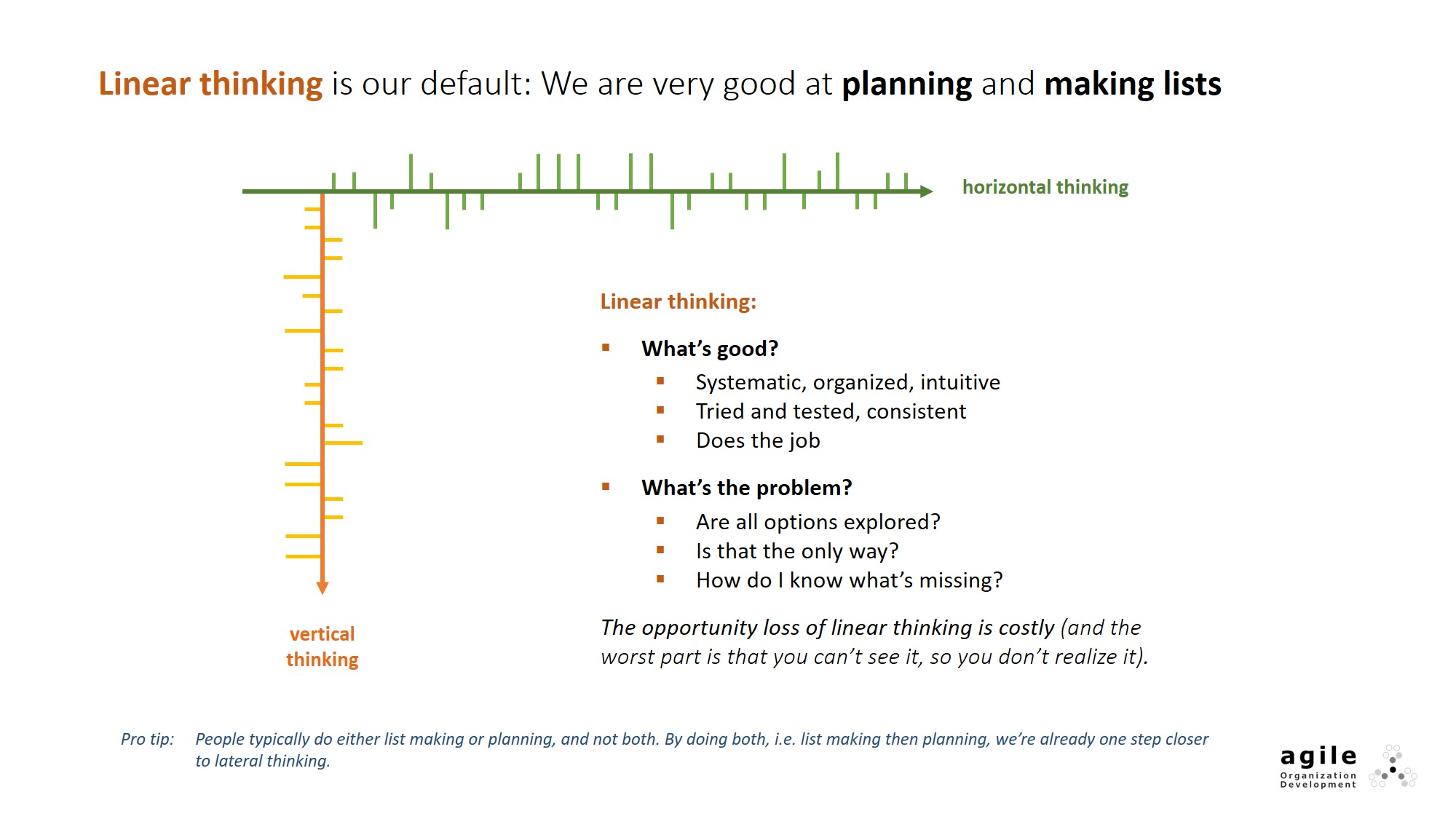 Linear thinking is our default: We are very good at planning and making lists